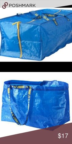 NEW IKEA Bags:2 zipper bag & 2 twenty gallons tote NEW IKEA Bags: 1 zipper bag & 1 twenty gallons tote. Can be carried in your hand, on your back Easy to keep clean – just rinse and dry. Takes little room to store as it folds flat. Also suitable for recycling. Environment Product possible to recycle or use for energy recovery, if available in your community. Clean with lukewarm water. 100 % polypropylene, Polypropylene Handle: 100 % polypropylene Thread: 100 % polyester Zipper: Polyamide…