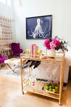 Bright and Bar Cart Savvy Brooklyn Home Tour: http://www.stylemepretty.com/living/2015/11/03/bright-bar-cart-savvy-brooklyn-home-tour/ | Photography: Lawrence Te - http://www.shopsocietysocial.com/