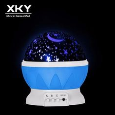 d7f76de81f2 Creative Moon Starlight Magic Lamp Intelligent Dimming Projection LED Lamp  USB Romantic Color Changing Projection Night Light(Blue) - intl