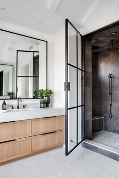 Ji bathroom same pulls for the vanity and take backsplash up and black rectangle mirror and black shower doors and fixtures Bathroom Inspo, Bathroom Wall Decor, Bathroom Interior Design, Bathroom Inspiration, Bathroom Flooring, Bathroom Ideas, Bathroom Renos, Bathroom Renovations, Home Remodeling