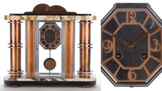 French Pendulum Clock  Glass-encased mantle clock with octagonal face and copper numerals. Maker unknown, France, circa 1930.