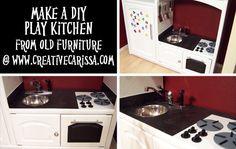 How to Make a DIY Play Kitchen Part Selection and Prep of a Great Entertainment Center ~ Creative Green Living Diy Kids Kitchen, Real Kitchen, Kitchen Designs, Sink Countertop, Countertops, Old Entertainment Centers, Home Daycare, How To Make Diy, Recycled Crafts