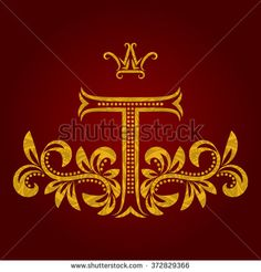 Patterned golden letter T #monogram in vintage style. #Heraldic coat of arms. Baroque #logo template.