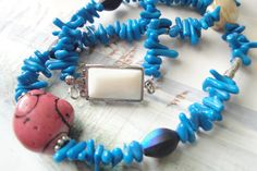 Blue Stick Coral Necklace by OceanaireDreamer on Etsy