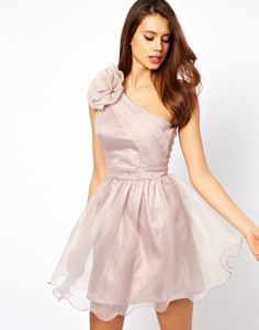 Lipsy | Lipsy Tutu Dress with Corsage Shoulder Detail at ASOS
