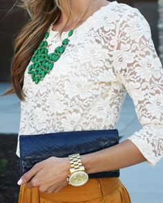 lace, watch, clutch, necklace!