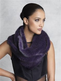 Dyed Purple Knitted Mink Fur Infinity Scarf #stylish #coat #fur #outwear at Flemington Furs - available online at FlemingtonFurs.com