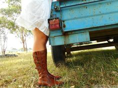 boots and sundress, late Summer