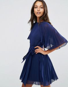 Buy it now. ASOS Pleated Flutter Sleeve Mini Dress - Navy. Dress by ASOS Collection, Lined pleated chiffon, Round neckline, Matching waist tie, Flutter sleeves, Button-keyhole back, Regular fit - true to size, Machine wash, 100% Polyester, Our model wears a UK 8/EU 36/US 4 and is 178cm/5'10 tall. ABOUT ASOS COLLECTION Score a wardrobe win no matter the dress code with our ASOS Collection own-label collection. From polished prom to the after party, our London-based design team scour the globe…