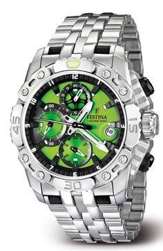 Green Festina Men's Sports Chrono Watch F16542/8 - Commissioned for the Tour De France, but perfect for any sports enthusiast.