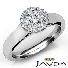 Round Diamond Engagement Ring Certified by GIA, H Color & IF clarity, 14k White Gold (0.8 ct. Total weight.)