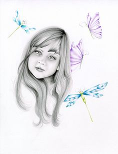Custom Portrait Whimsical Personalized Portrait Drawing of Your Loved One OOAK Hand Drawn Sketch Illustration Blue Purple ohtteam on Etsy, $180.00. This is an example of my custom portraits that I can create especially for your child!