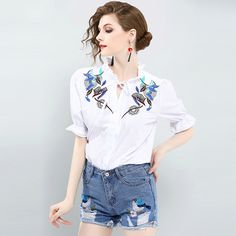 2017 New White Blouse And Denim Shorts Suit Set Summer Embroidery Short Sleeve Tops + Ripped Shorts 2 Piece Set Women Clothing