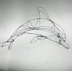 Dolphin silverWire Drawing Sculpture Art by sugarsusan on Etsy, $66.00