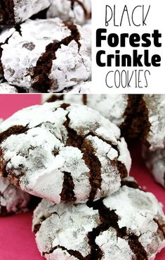 These are the very best Chocolate Crinkle Cookie recipe I have ever tried. These Black Forest Chocolate Crinkle Cookies are bite sized chewy cookies. Pumpkin Chocolate Chip Cookies, Chocolate Crinkles, White Chocolate Chips, Oatmeal Breakfast Cookies, Oatmeal Cookie Recipes, Best Snickerdoodle Cookies, Easy Gingerbread Cookies, Ginger Bread Cookies Recipe, Pumpkin Dessert