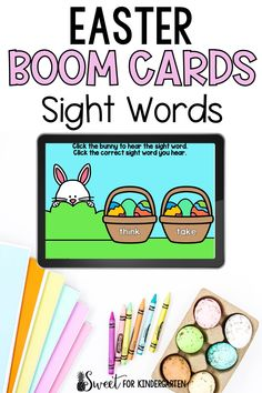 Need Boom Cards to practice sight words this Easter? These ones are super engaging and perfect for kindergarten and first grade students. Click the pin to see the digital task cards included in this holiday resource! Fry Sight Words, Sight Words List, First Grade Sight Words, Second Grade, Easter Activities, Task Cards, Phonics, Literacy, Kindergarten