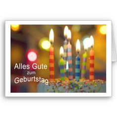 $2.95 German birthday card with a photograph of a birthday cake and colorful striped candles.
