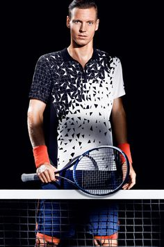 Short-sleeve tennis shirt in fast-drying, breathable, functional fabric with black & white pattern. Made from recycled polyester, Tomas Berdych Collection. | H&M Sport