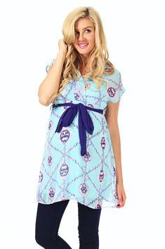 Light-Blue-Purple-Bow-Printed-Chiffon-Maternity/Nursing-Blouse