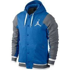 Men's Nike Air Jordan Varsity Hoodie Cool Grey Royal Blue White Large Supreme