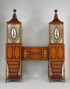 Desk and bookcase  Baltimore, Maryland, ca. 1811  Mahogany, satinwood, maple, eglomise panels, cedar