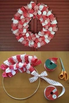 How to make a Christmas Ribbon Wreath.these are the BEST DIY Christmas Wreath Ideas! (How To Make Christmas Ribbon) Christmas Projects, Holiday Crafts, Christmas Ideas, Christmas Colors, Holiday Wreaths, Christmas Ribbon Crafts, Simple Christmas, Christmas Wreaths To Make, Christmas Quotes