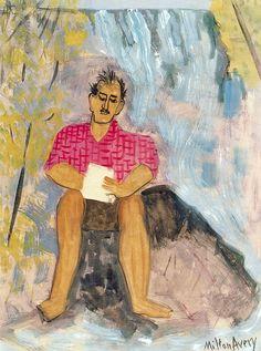 Self Portrait with Waterfall. Milton Avery