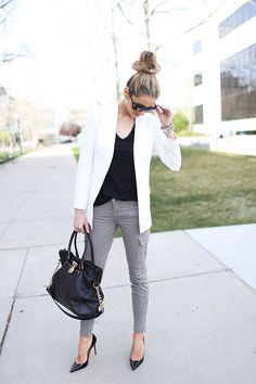 My outfit details: Theory blazer, J Brand pants, Caslon top, Michael Kors bag, Christian Louboutin, Gucci sunglasses, YSL lips (fuchsia innocent)