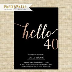 Black dress 40 birthday invitation gold
