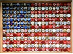 American Flag made out of bottle/beer caps...Awesome DIY project for the man cave.