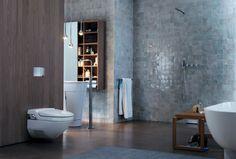 Walk in Shower Designs, Ideal Contemporary Bathroom Design Solution Bathroom Design Inspiration, Bad Inspiration, Contemporary Bathroom Designs, Modern Bathroom, Laundry Room Bathroom, Master Bathroom, Design Wc, Geberit Monolith, Toilet Drain