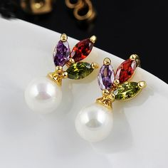 Glass #Pearl #Stud #Earring, with multi-colored #crystal.