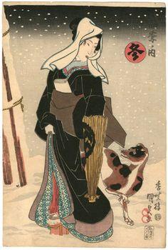 国貞 Kunisada 『四季ノ内 冬』【浮世絵-美人画 Ukiyo-e…