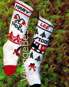 KNITTING CHRISTMAS PATTERNS 1960s Stockings for Boy and Girl with Embroidery has graphs for Holiday Season Vintage Beso Knitted Stocking by VintageBeso on Etsy