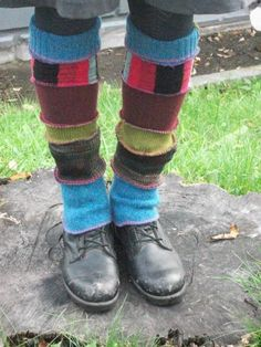 Harry and the Hippie Chic Upcycled Recycled Reconstructed Ooak Blue Multi Patchwork Leg Warmers. Etsy.