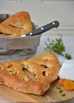 Rezept Fougasse mit Pistazien oder Fougasse à la pistache gefüllt mit Pistazien, Aprikosen und Bacon