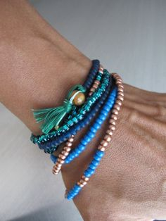 Blue & Copper Color Block Strand Tassel Necklace Rainbow Boho Beads Long Beaded Evening Necklace No Tassel Beads Bohemian Desert Night