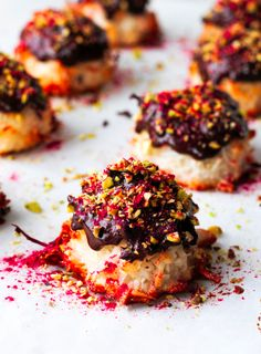 A spin on the classic coconut macaroon, pistachios give these little gems an added saltiness while the raspberry powder adds a tangy sharp edge. Easy to make andfantastic to look at, these treats are great served with coffee or as a gift.