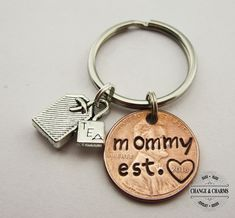 Mom EST 2015 Leather Key Chain Great Gift for Motherss Day Birthday or for Mom Grandma Wife