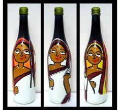 Three women- Painted Glass Bottle- Flower Vase-Vases