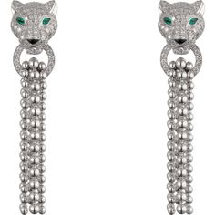 Panthère de Cartier earrings White gold, emeralds, diamonds, onyx ($45,700) ❤ liked on Polyvore featuring jewelry, earrings, onyx drop earrings, white gold diamond jewelry, diamond earrings, emerald jewelry and white gold diamond earrings