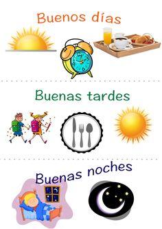 Tarjeta para presentar a niños los saludos y despedidas haciendo énfasis en las partes del día