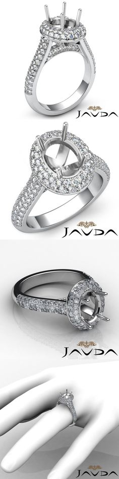 Settings Only 164309: 2 Row Halo Pave Set 1.5Ct Diamond Engagement Ring 14K White Gold Oval Semi Mount -> BUY IT NOW ONLY: $2159.1 on eBay!