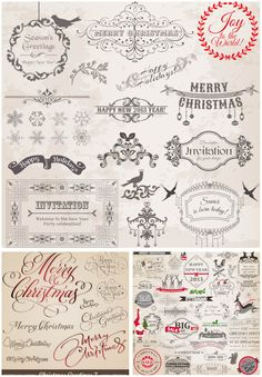 Vintage Christmas decorative lettering vector
