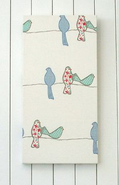 Nursery girls room chic quality fabric covered canvas wall art/hanging, birds on a wire