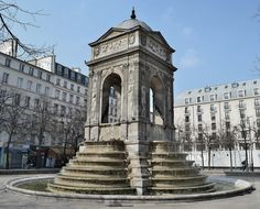 "Fontaine des Innocents, 1547-50, by Lescot, Paris. ""The architecture of the fountain was inspired by the nymphaeum of ancient Rome. It was constructed by Lescot and sculptor Jean Goujon."""