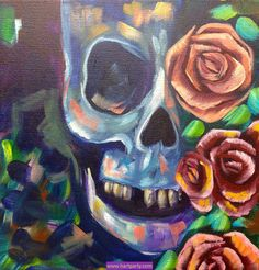 How to paint a Skull and roses painting By Cinnamon Cooney The Art Sherpa as a Fully guided art lesson for Hart Party on youtube. Free online home painting party www.youtube.com/... #artlesson #theartsherpa #hartparty #easyart #paintingparty #art #diy