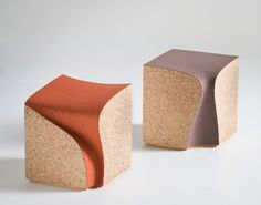 ERODED STOOLS | by alessandro isola and supriya mankad | designed for a wine testing room in the north east of italy, the stools have been excavated from a solid volume of cork. The recessed seat finds its way down the back almost like a liquid has been poured onto it, flowing and finding its own path.