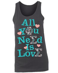 Phi Sigma Sigma Love Tank by Adam Block Design | Custom Greek Apparel & Sorority Clothes | www.adamblockdesign.com