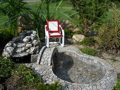 Miniature Garden Fairy/Faerie Gnome,Hobbit, Bridge Waterfall w. pump In/Outdoor